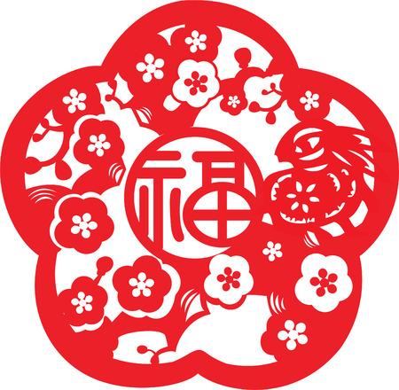 wzorek: Kaligrafia Symbole chińskie Powodzenia Ilustracja