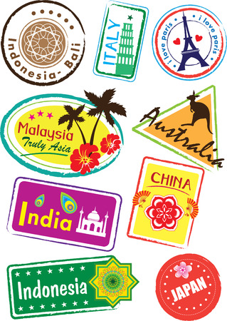 post cards: World country travel landmark icon set
