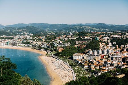 Crescent shaped Playa De La Concha Beach in San Sebastian, Spain.  In Basque Country Stock Photo - 124959236