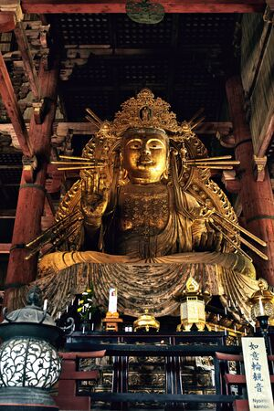 View of the giant Buddha inside the Daibutsuden, Great Buddha Hall, of the Todaiji Temple, in Nara, Japan