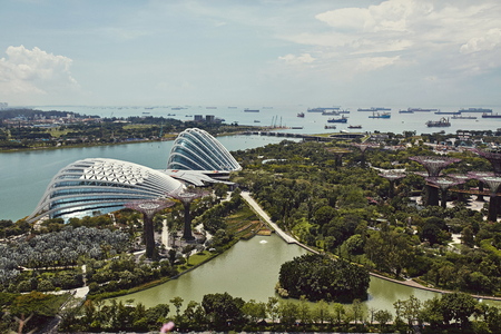 Gardens By The Bay parque desde arriba con vistas de barcos en la distancia en Singapur.