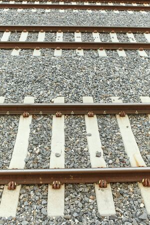 Closeup of train tracks downtown at Union Station in Denver, Colorado