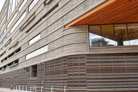 Architectural details of a building near Millennium Bridge in the Riverfront Park neighborhood of Denver, Colorado