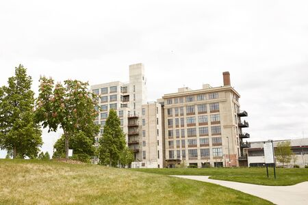 View of isolated, modern condominium in the Riverfront Park neighborhood of downtown Denver