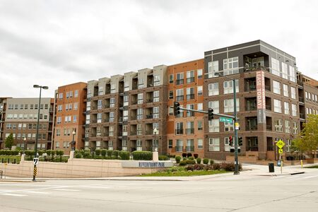 Modern condos and highrise buildings in the Riverfront Park neighborhood of downtown Denver