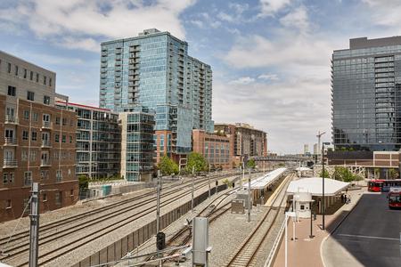 Train tracks near Union Station, under the Millennium Bridge in the Riverfront Park neighborhood of Denver, Colorado