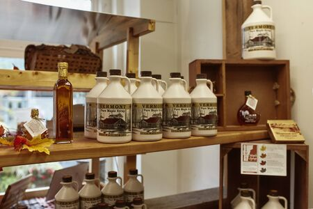Bennington, Vermont - September 30th, 2019: Variety of New England maple syrup for sale at a general store in Bennington. Editorial
