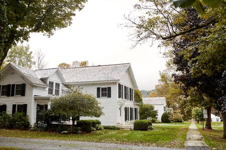 Dorset, Vermont - October 1st, 2019: Beautiful historic neighborhood on a cold, Fall day in the New England town of Dorset.