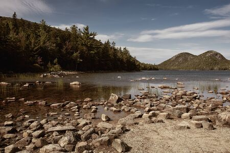 Jordan Pond with view of the Bubbles in background at Acadia National Park in Mount Desert Island, Maine.