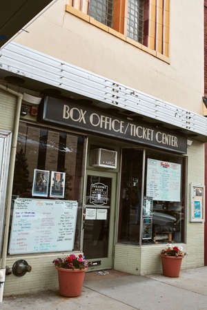 Boulder, Colorado - May 27th, 2020:  Box office at entrance to Boulder Theater, temporarily closed due to Covid-19 pandemic.