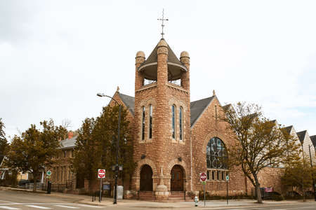 Boulder, Colorado - May 27th, 2020:  Exterior of First United Methodist Church near Pearl Street Mall in Boulder County 新闻类图片