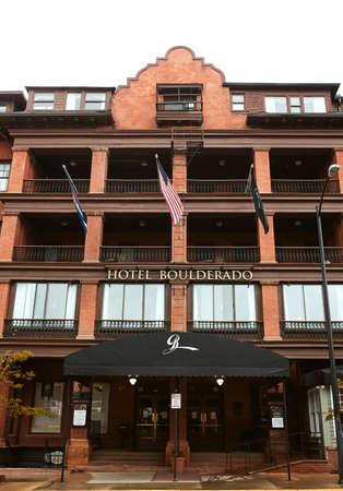 Boulder, Colorado - May 27th, 2020:  Exterior of Hotel Boulderado, located near Pearl Street Mall in Boulder County