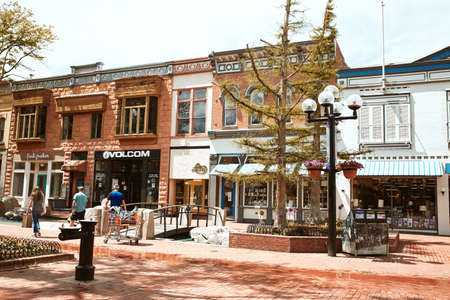 Boulder, Colorado - May 27th, 2020:  Shops, businesses and restaurants along Pearl Street Mall, a pedestrian mall in Boulder County.