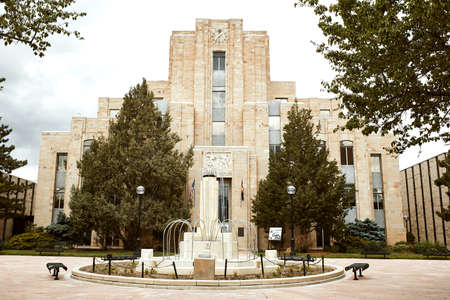 Boulder, Colorado - May 27th, 2020:  Exterior of Boulder Municipal Courthouse on Pearl Street Mall in Boulder County