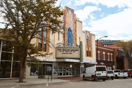 Boulder, Colorado - May 27th, 2020: Marquee and exterior of Boulder Theater, temporarily closed due to Covid-19 pandemic.