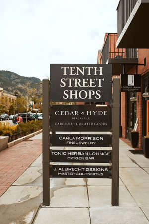 Boulder, Colorado - May 27th, 2020:  Shop sign at West End of Pearl Street Mall in Boulder County
