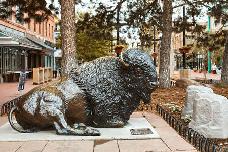 Boulder, Colorado - May 27th, 2020:  Bronze Buffalo statue by artist Stephen LeBlanc on display at Pearl Street Mall in Boulder County. 新闻类图片