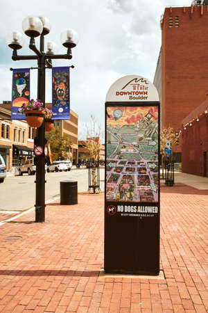 Boulder, Colorado - May 27th, 2020:  Sign with map and directions for Pearl Street Mall in Boulder County