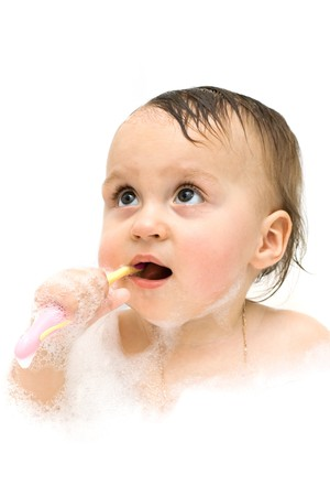 First steps in brushing your teeth are not easy. Stock Photo - 8084812