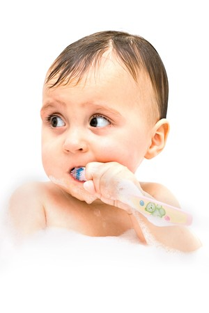 First steps in brushing your teeth are not easy.  photo