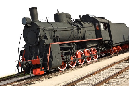 Old steam train isolated on white photo