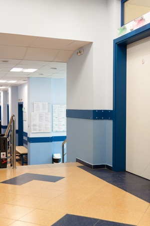 long corridor in hospital with doors Stock Photo - 9227175