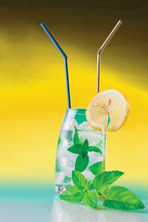 Fresh drink with mint and ice Stock Photo - 9965255