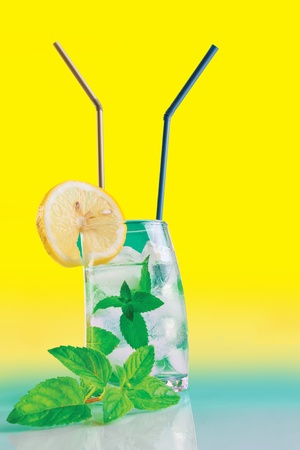 Fresh drink with mint, lemon and ice Stock Photo - 9965253