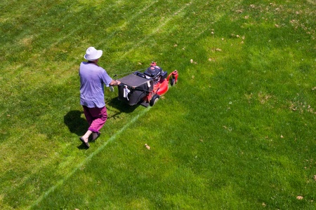 mow: male gardener working with lawn mower Stock Photo