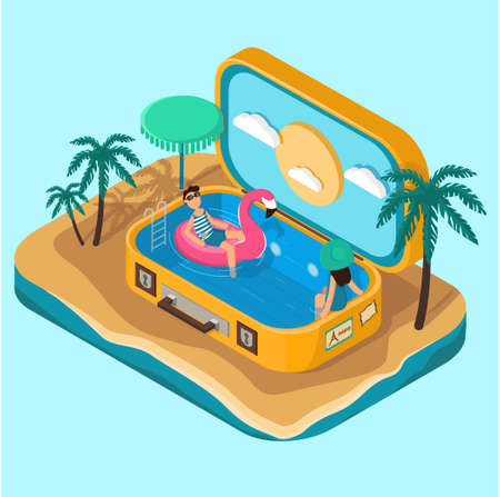 Isometric suitcase with pool and palm trees