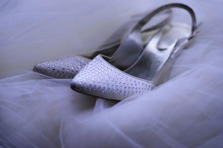 high heeled: Bridal Shoes on Veil