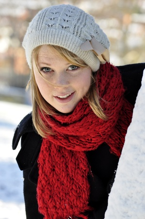 quirky smile in the snow Stock Photo