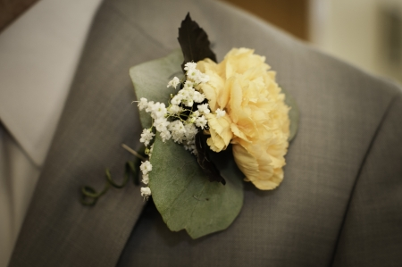 Peach Carnation Wedding Corsage on Groom photo