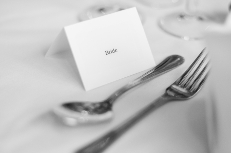 Bride s place card and silverware