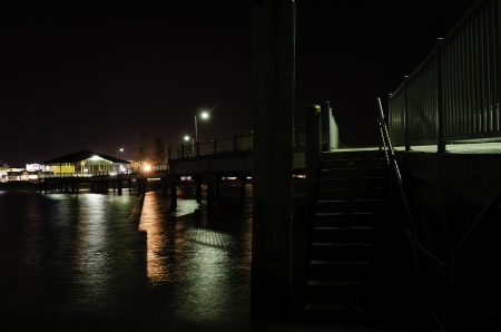 Pier at Redcliffe, Brisbane, night view in winter