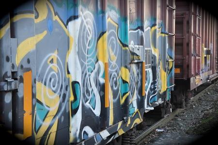 Graffiti on a Train Banco de Imagens - 51007013