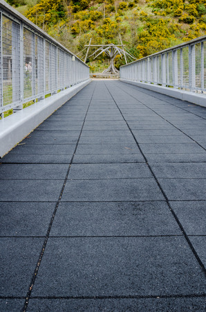 emphasis: Vertical low angle perspective of empty foot bridge with tree line backgournd. Emphasis on leading lines. Stock Photo