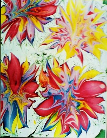 Traditional Marbled Print Of Funky Flowers Stok Fotoğraf