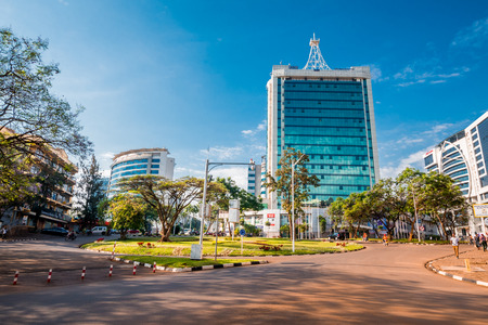 Kigali, Rwanda - September 21, 2018: Pension Plaza and surrounding buildings at the city centre roundabout Editorial