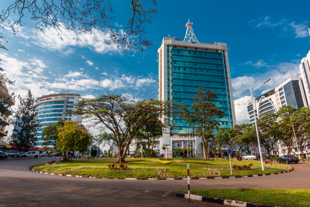 Kigali, Rwanda - September 21, 2018: Pension Plaza and surrounding buildings at the city centre roundabout Editoriali