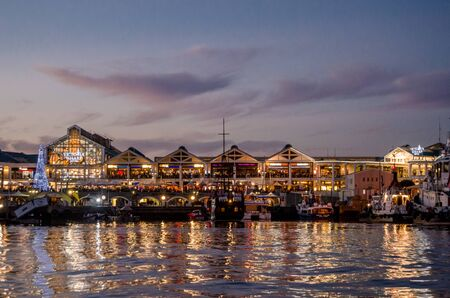 Cape Town, Western Cape / South Africa - November 27 2012: Victoria Wharf at the V&A Waterfront lit up at night