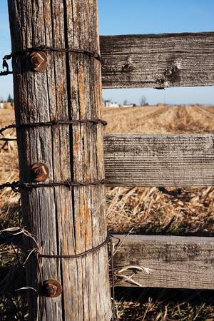 Wooden Post on Farm Stock Photo