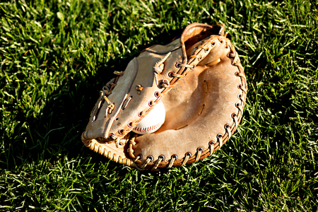 Baseball and glove against green grass in the summer sun