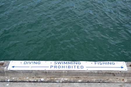 Diving, Swimming And Fishing Prohibited Sign