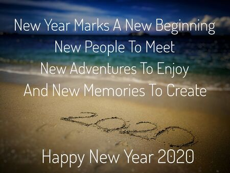 New Year Quote On Blurred Sandy Beach Background