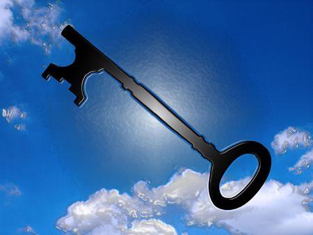 doorkey: Porta chiave e nube sfondo  Archivio Fotografico