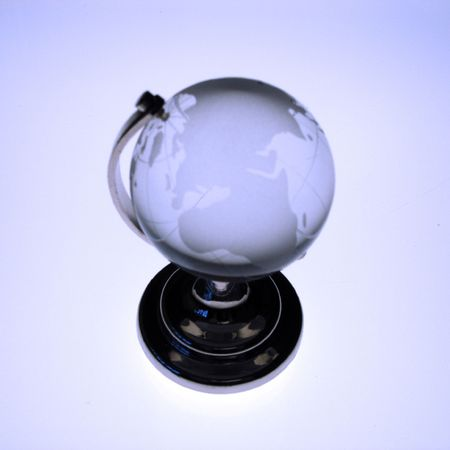 oceans: Blue toned glass globe Stock Photo