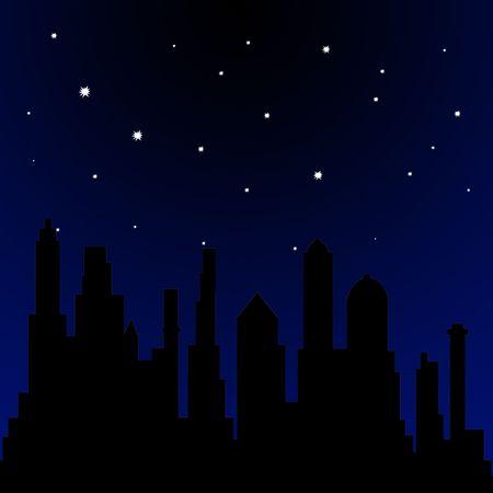 illustrates: Stars shining in the sky at night Stock Photo