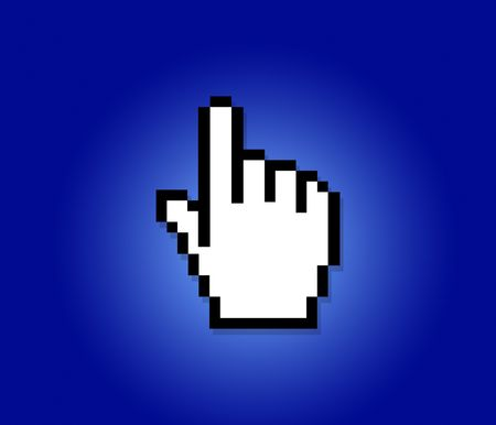 hand cursor on a blue background Stock Photo - 298252
