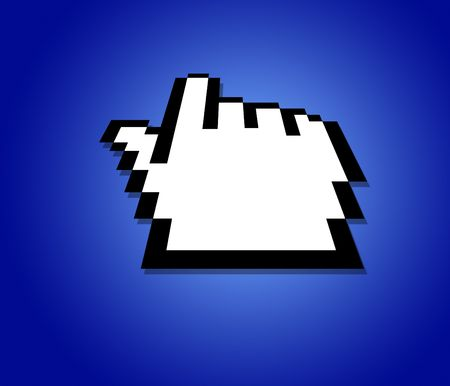 hand cursor on a blue background Stock Photo - 298215